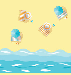 Beach umbrellas striped towels and ball on sand vector