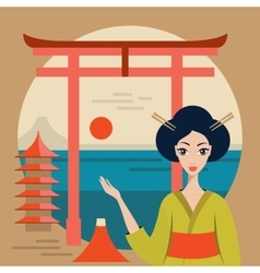 Beautiful Japan Travel banner with Geisha Mountain vector image