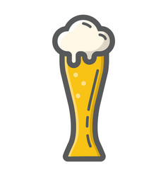 Beer glass filled outline icon food and drink vector