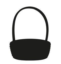 Black and white empty wicker basket silhouette vector