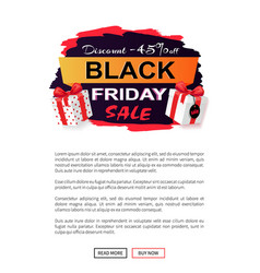 black friday sale 45 percent off promo sticker vector image