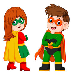 Boy and girl is using superheroes vector