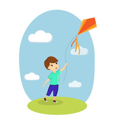 boy and kite child playing nature lawn sky vector image