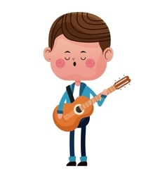 Boy standing singing song guitar love vector