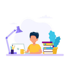 boy studying with computer and books back to vector image