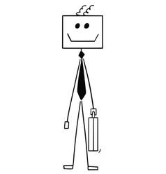 cartoon of robot or robotic businessman vector image