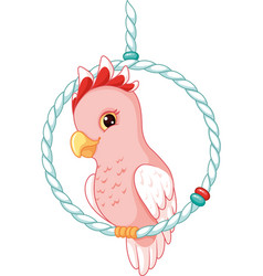 Cartoon pink cockatoo vector