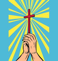 christian cross in light hands vector image