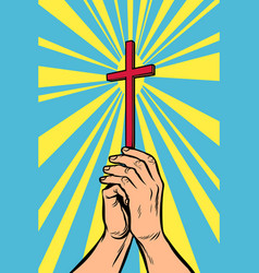 Christian cross in the light hands of the vector