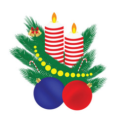 Christmas composition candle balls branches of a vector