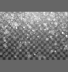 christmas snowfall template falling snowflakes on vector image