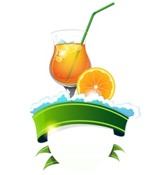 Cocktail with ribbon vector image
