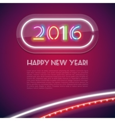Colorful Glowing Neon Sign 2016 vector image