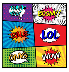 Comic speech bubble set with different expression vector