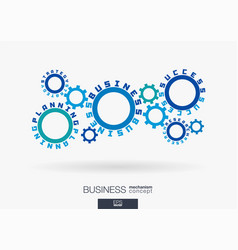 Connected cogwheels strategy planning success vector