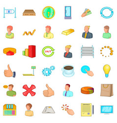Corporation icons set cartoon style vector
