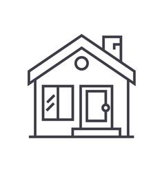 cottage chimneyreal estate line icon vector image