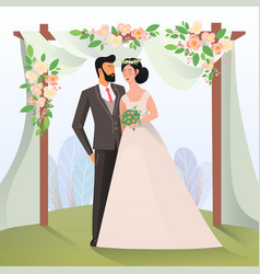 Couple of mature man and woman having wedding vector