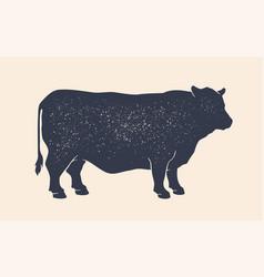 Cow silhouette vintage retro print silhouette vector