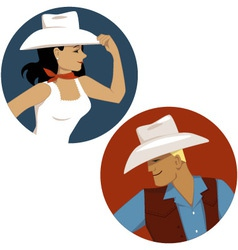 Cowgirl and cowboy round portrait badges vector