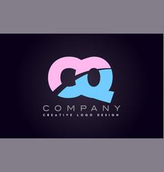cq alphabet letter join joined letter logo design vector image