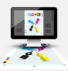 creative graphic design with cmyk print document vector image