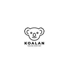 Cute panda head smile line modern logo design icon vector