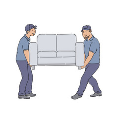 Delivery people moving a couch young service men vector