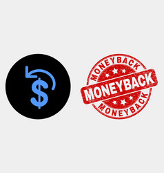 dollar refund icon and scratched moneyback vector image