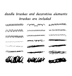 Doodleink brushes and hand drawn decorative vector
