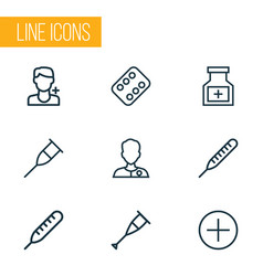 Drug outline icons set collection antibiotic vector