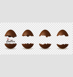 Easter broken egg 3d text chocolate brown open vector