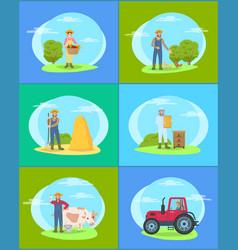 Farming season people on land vector