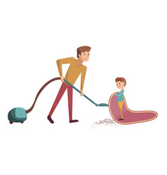 father and son do cleanind cartoon vector image