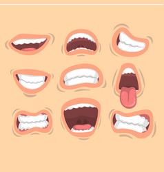 Flat set of male mouths with different vector