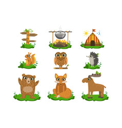 Forest camping cute set vector