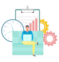 Freelancer man working on couch with laptop vector