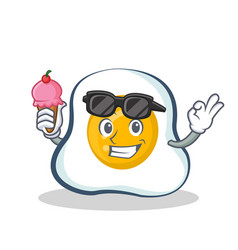 fried egg character cartoon with ice cream vector image