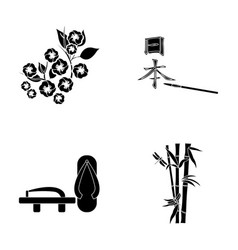 Geta sakura flowers bamboo hieroglyphjapan set vector