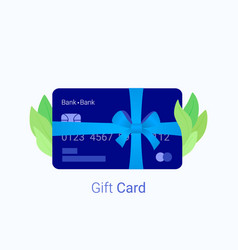 gift bank card with blue ribbon and bow vector image