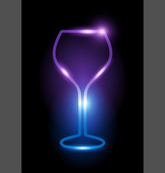 glowing neon wine glass icon vector image