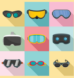 Goggles ski glass mask icons set flat style vector