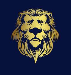 gold elegant lion logo company premium mascot vector image