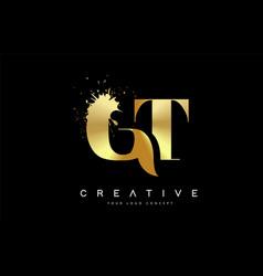 Gt g t letter logo with gold melted metal splash vector
