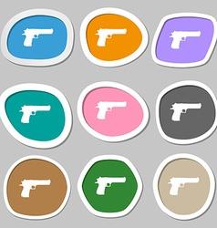 Gun icon symbols Multicolored paper stickers vector
