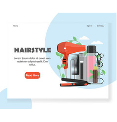hairstyle website landing page design vector image