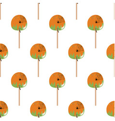 Halloween apple in caramel seamless pattern vector