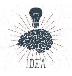 Hand drawn brain with idea lettering and light vector