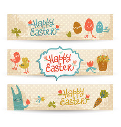 Happy easter doodle banners set vector