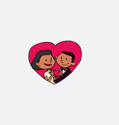 just married inside heart making the gesture of vector image